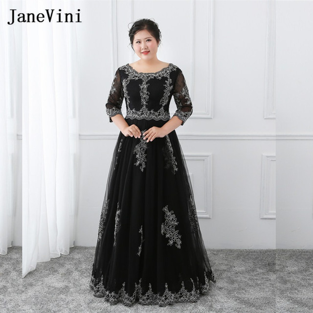 JaneVini Black Plus Size Long Gowns for Women Mother of The Bride Dress Half Sleeve Lace Appliques Lace Up Evening Formal Dress