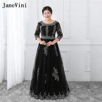 Janevini Черный цвет; Большие размеры Длинные платья для Для женщин мать невесты платье Половина рукава Кружево аппликации Кружево до вечернее