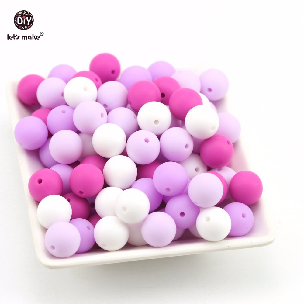 Lets Make Baby Silicone Teether Bead Food Grade Teething 100pc Purple Series Nursing Accessories DIY Jewelry Beads Baby Teether