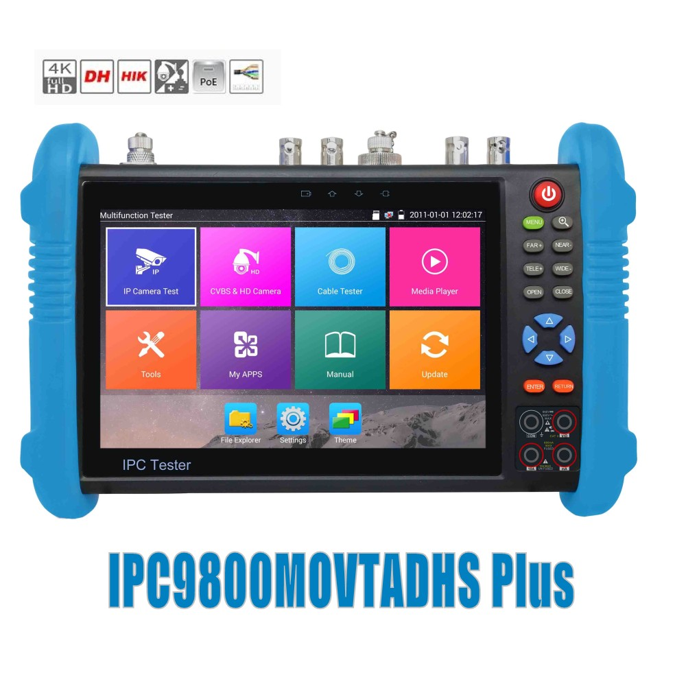 DHL Libero 9800 Più 7 pollici Tester IP Camera H.265 4 K 8MP TVI CVI AHD SDI CVBS IPC CCTV Monitor con cavo tracciante/TDR/Multimetro