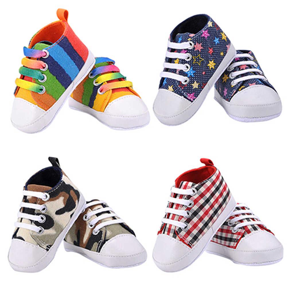 Модная Радужная текстильная обувь для мальчиков и девочек мягкая ползунок младенец противоскользящая детская обувь