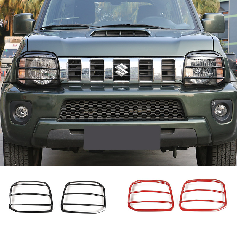 For Suzuki Jimny Black/Red Metal Car Front Head Light Frame Trim Cover Free Shipping Car Accessories free shipping car refitting dvd frame dvd panel dash kit fascia radio frame audio frame for 2012 kia k3 2din chinese ca1016