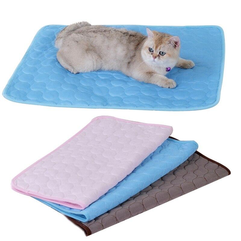 Pet Cat Bed Mat Summer Pet Nest Floor Sofa Cool Ice Silk Mat Cat Cool Pad Soft And Comfortable Pet Mattress Cushion Cat supplies