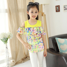 New Children's Wear Summer Girls Off-the-shoulder Short Sleeves Korean Floral T-shirts Kids Clothing Print