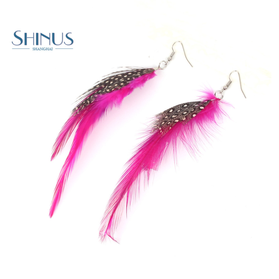 Shinus Drop Feather Earring Women Jewelry Long DIY Handmade Bohemia ...