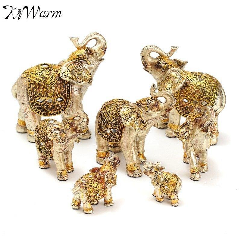 KiWarm набор золотой Будда слон статуя орнамент фигурка украшения изделия из смолы для удача богатство офис Декор Lucky подарки