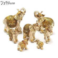 KiWarm Set Gold Buddha Elephant Statue Ornament Figurine Ornaments Resin Crafts For Fortune Wealth Home Office Decor Lucky Gifts