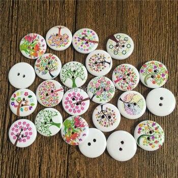 100 Uds. Patrones de árboles mixtos botones de madera redondos 2 agujeros DIY Navidad álbum de recortes artesanal albúm de recortes de costura accesorios 15mm