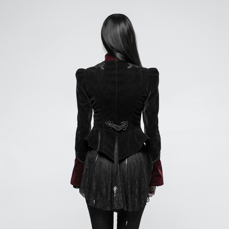 PUNK RAVE Gothic Scissor-tail Twill Velveteen Ladies Short Jacket Pattern Embroidery Decoration Splicing Carving Buttons Coats