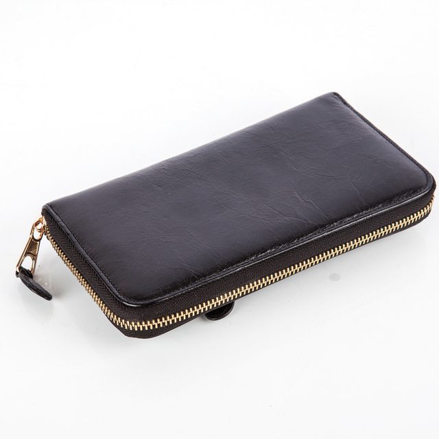ISHARES Oil Wax Paper Genuine Leather women Cool Clutch Wallet Top Quality Gold Zipper Rivet Solid Colors Purses Hot Sale IS6032