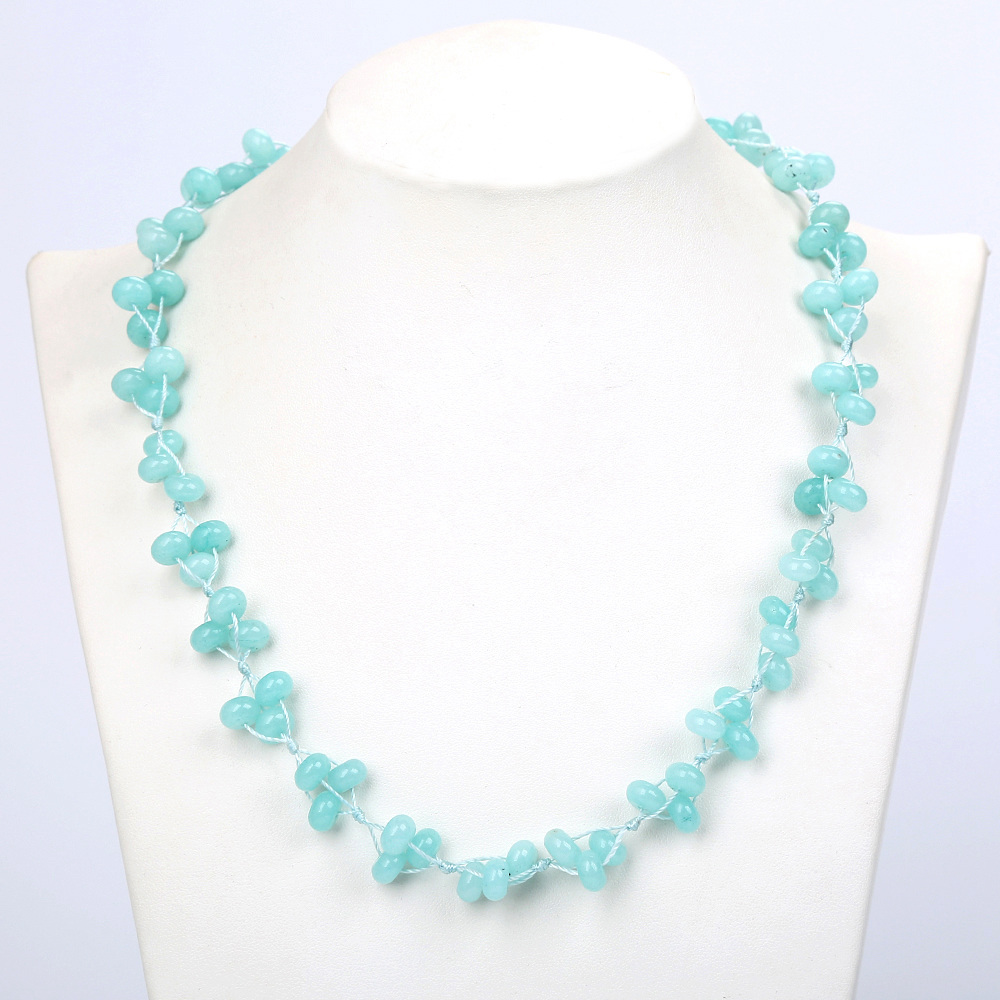 Natural Crystal Aquamarine Braided Necklace Sky Blue Crystal Lady Chain Ball Pop Power Teens Women Jewelry Stone Choker Necklac