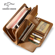 KANGAROO KINGDOM luxury vintage genuine leather men wallets brand male casual clutch purse цена