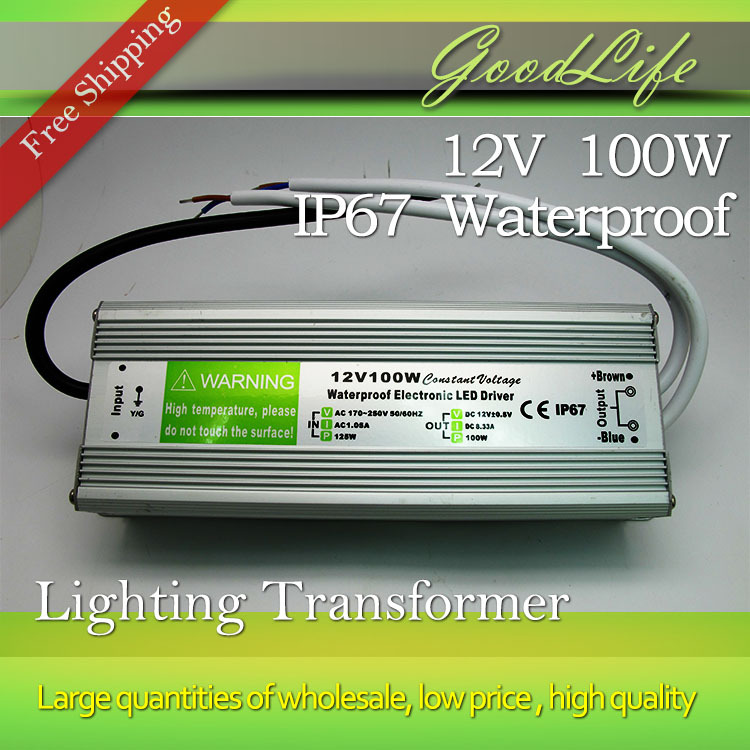 DC 12V 100W Waterproof  IP67 LED Driver,Power adapter, outdoor use for led strip power supply,Lighting Transformer,Free shipping led driver transformer power supply adapter ac110 260v to dc12v 24v 10w 100w waterproof electronic outdoor ip67 led strip lamp