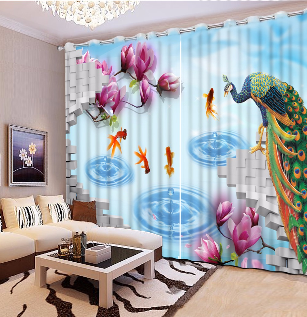 Blackout Kitchen Curtains Polyester Valance Tiers 3: Kitchen Curtains Modern Lake Peacock Blackout 3D Curtains
