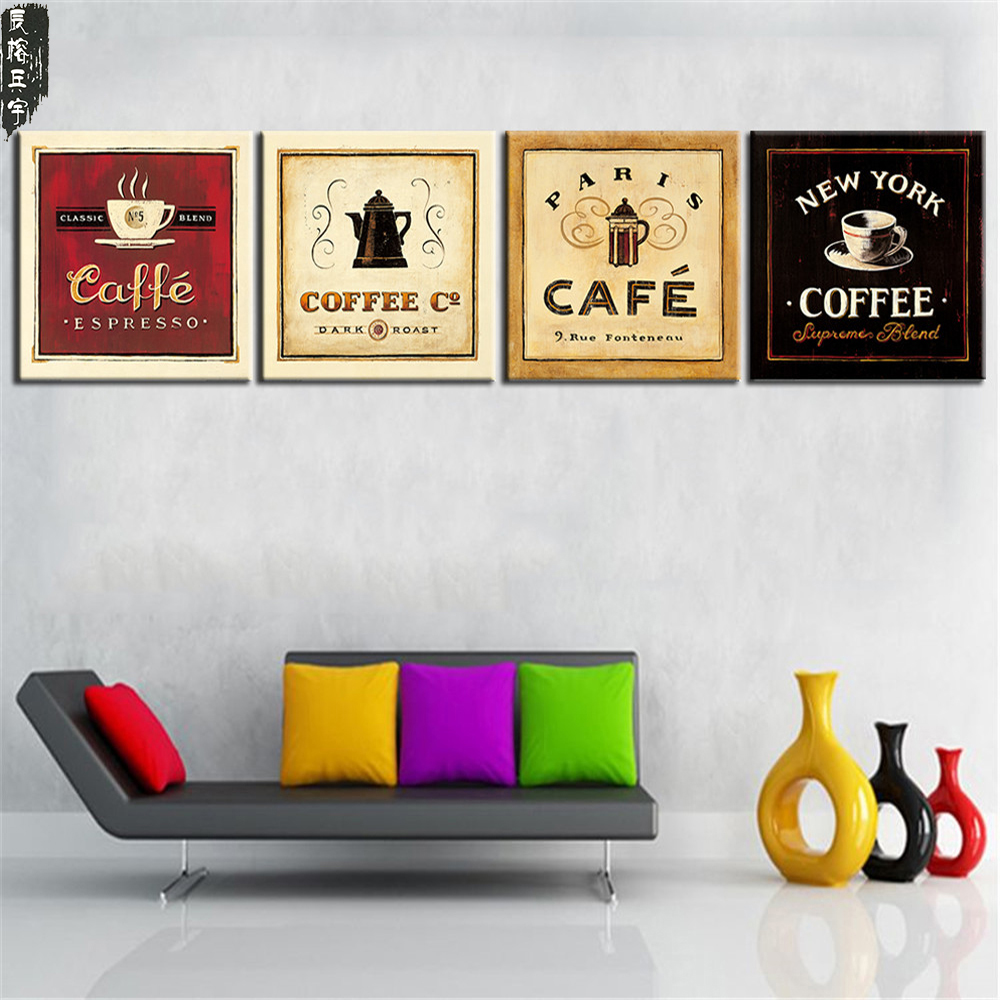 Unframed Cup of Tea Tea Poster Moderne Canvas Print Oil Painting Wall Art Billede til Kitchen Room Decoration Artwork 4 Panel