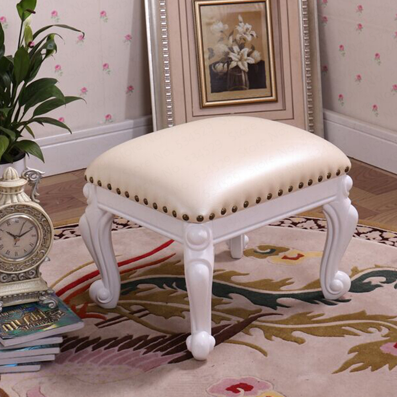F02 European Home Living Room Solid Wood Leather Sofa Stool Change Shoes Stool Coffee Table Stool Small Board Deng Dotomy