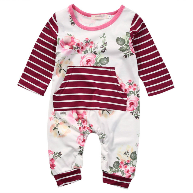 da6cf1679a5 Cute Newborn Kids Baby Girls Romper Long Sleeve O Neck Floral Striped  Jumpsuit Clothes Outfits Spring Summer New 0-24M