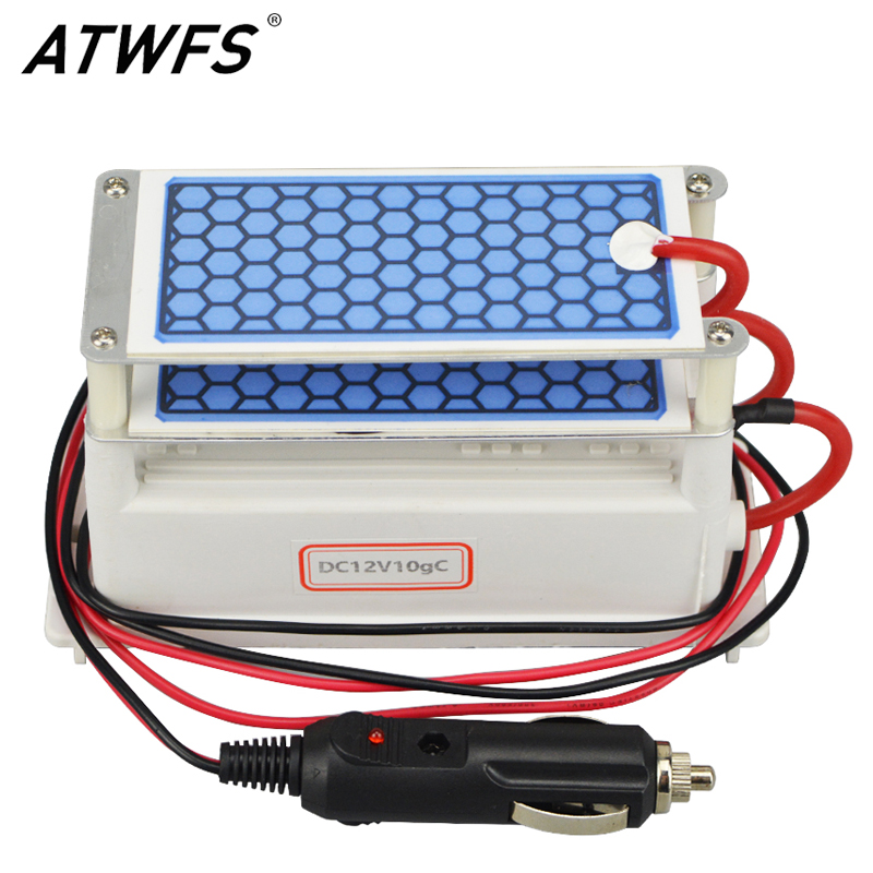 ATWFS Newest Car Portable Ozone Generator 12v 10g Ozonizer Air Cleaner Car Purifier Ozone Ceramic Plate Air Sterilizer Filter portable ozone generatir water filter air purifier dc12 ozone genrator fqt 100