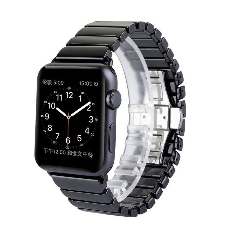 CRESTED ceramica bracciale per apple watch band 42mm/38mm Farfalla fibbia del cinturino di vigilanza per iwatch serie 3/2/1 cinghia da polso