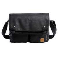 Vintage Men Crossbody Bags Leather High Quality Men Shoulder Bag Casual Brand Men Messenger Bags Black