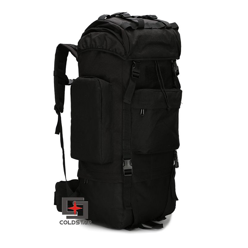 ФОТО Black Color  65L Large Capacity Mountaineering Bag High quality Outdoor Backpack Waterproof Travel Hiking Camping Tactical Bag