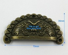 10pcs/lot 10 Antique Brass Jewelry Box Handle Dragon Drawer Pull Cabinet Knob 70*35mm