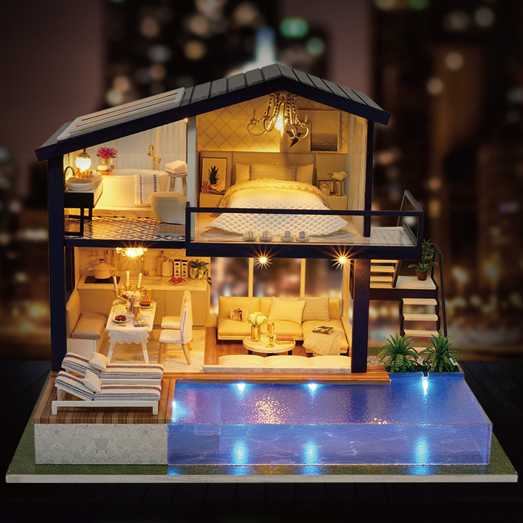 New Arrival DIY Model Doll House Miniature Dollhouse with Furnitures LED 3D Wooden House Musical Villa House Blocks Handmade