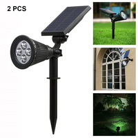 2 Pcs Solar Spotlights 4 LED Landscape Solar Lights Outdoor Waterproof Garden Lawn Lamp CLH@8