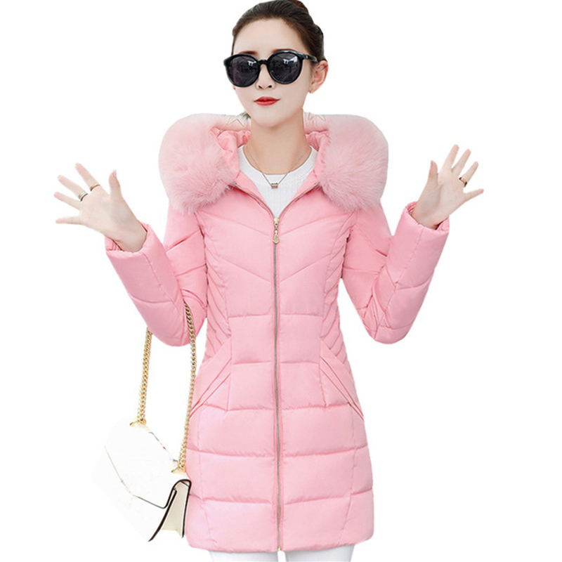 Fashion Slim Winter Cotton Coats 2017 Faux Fur Collar Down Cotton Jackets Long Warm Wadded Hooded Winter Female Jacket FP0039 2017 winter faux fur collar parkas women long cotton coats hooded overcoat slim female jacket warm wadded padded coats fp0023