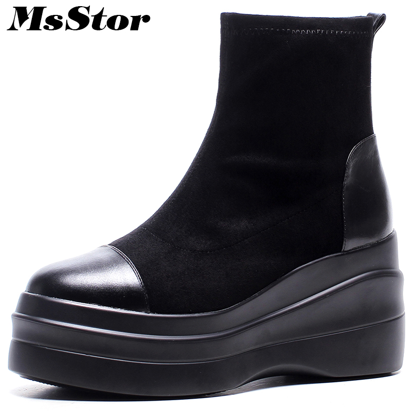 MsStor Women Thick Bottom Boots Casual Fashion Concise Platform Ankle Boots Women Shoes Elegant Flat With Boots Shoes Woman msstor round toe thick bottom women boots casual fashion concise ankle boots women shoes mature elegant platform boots women