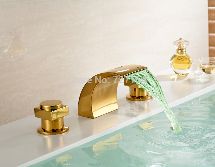 Free Shipping! LED Color Changing Bathroom Basin Faucet Golden Brass Sink Mixer Tap Dual Handle free shipping golden finish led color changing bathroom tub faucet widespread spout mixer tap