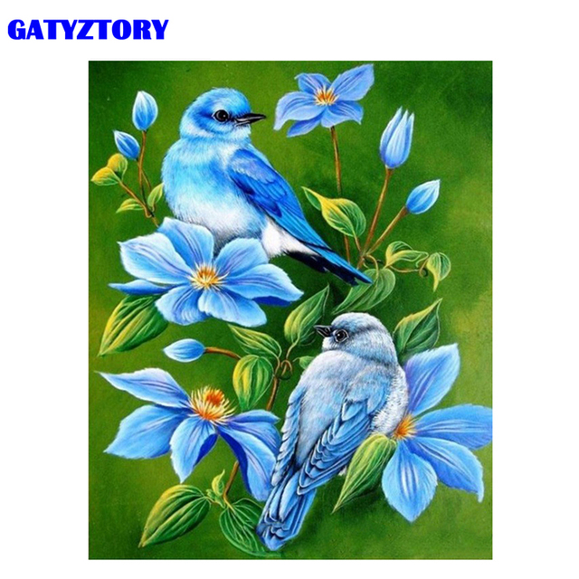 GATYZTORY Frame Birds And Flowers DIY Painting By Numbers Acrylic Paint By Numbers Animals Modern Wall Art Canvas Painting 40x50