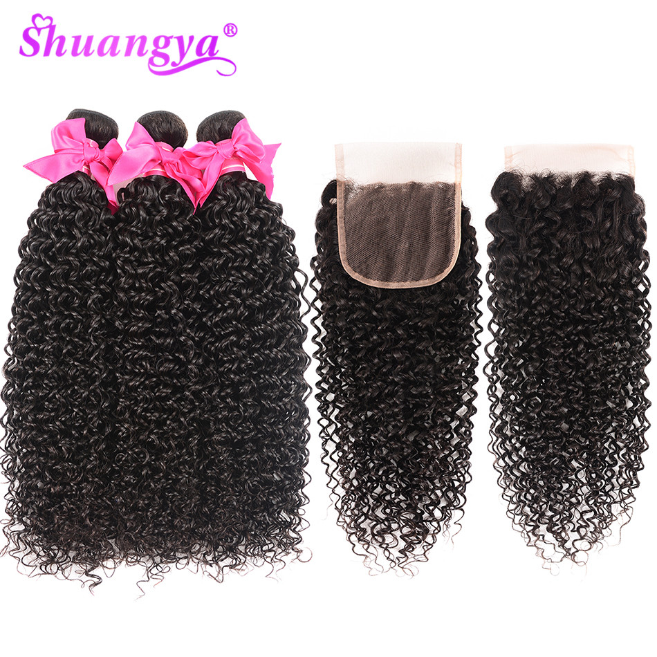 Peruvian Hair Weave Bundles With Closure Afro Kinky Curly Bundles With Closure Remy Human Hair 3