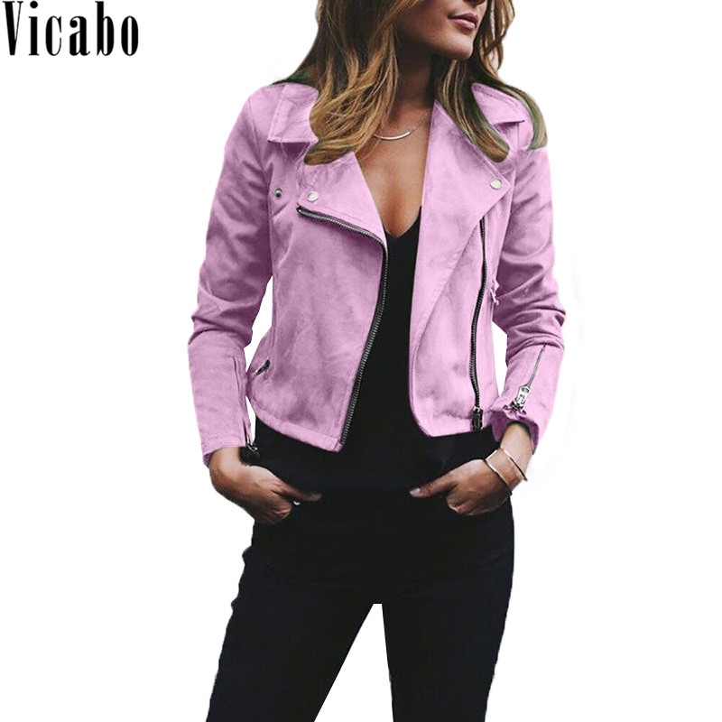 Vicabo 2018 Autumn Women Slim Cool   Suede     Leather   Jackets Female Zipper Black Motorcycle Coat Faux Biker Jacket Outerwear