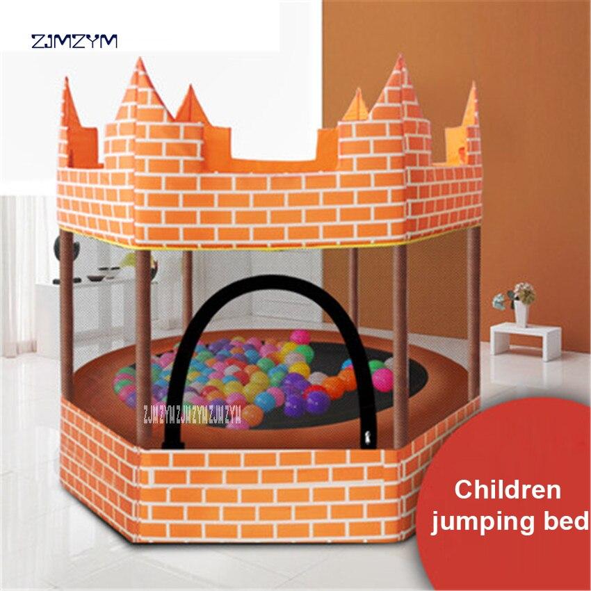 1.5 M de diamètre rond enfants Mini clôture de Trampoline Net Pad Rebounder exercice extérieur orange château trampoline 150 kg charge-beare