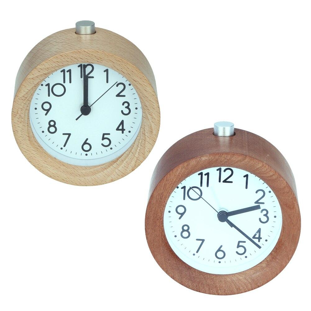 Wooden Alarm Clock Circular No Ticking Snooze Backlight Digital Clock Wood Desktop Table Clocks Watch