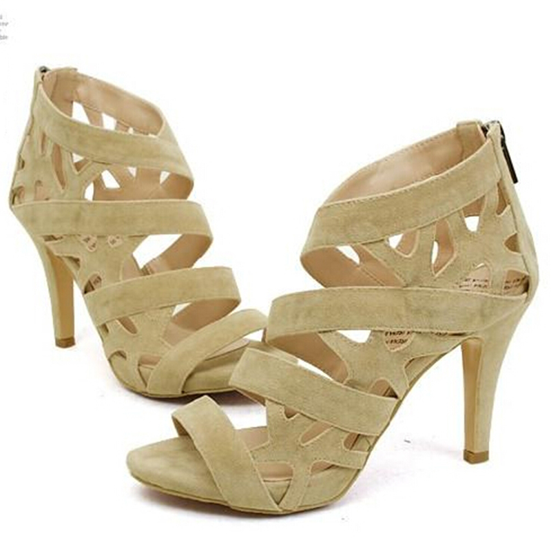 womens summer beige black sandals cutout open toe nude color heels thin princess high heels sexy flock shoes - Sandale Colore