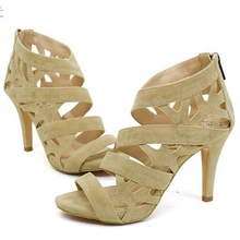 women's summer beige black sandals cutout open toe nude color heels thin princess high heels sexy flock shoes