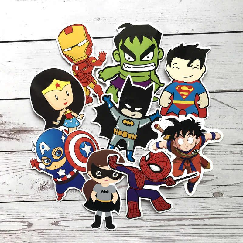 10 шт. 11 см Большой Marvel DC супер герой мстители, Супермен, Бэтмен Человек-паук Железный человек Гоку наклейки пакет для автомобиля ноутбук водонепроницаемый