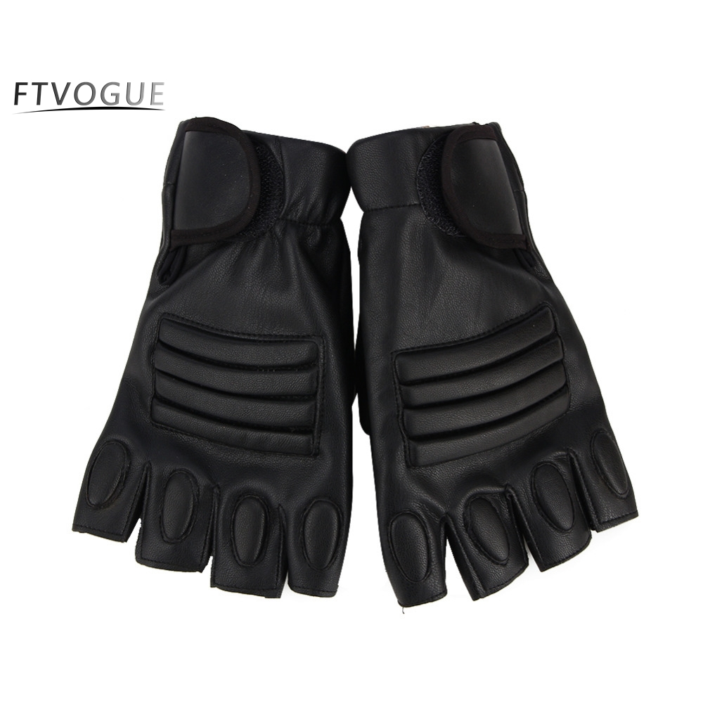 Leather work gloves ireland - Pu Leather Tactical Climbing Gloves For Men Fingerless Army Bicycle Gloves Antiskid Gym Fitness Workout Motocycle