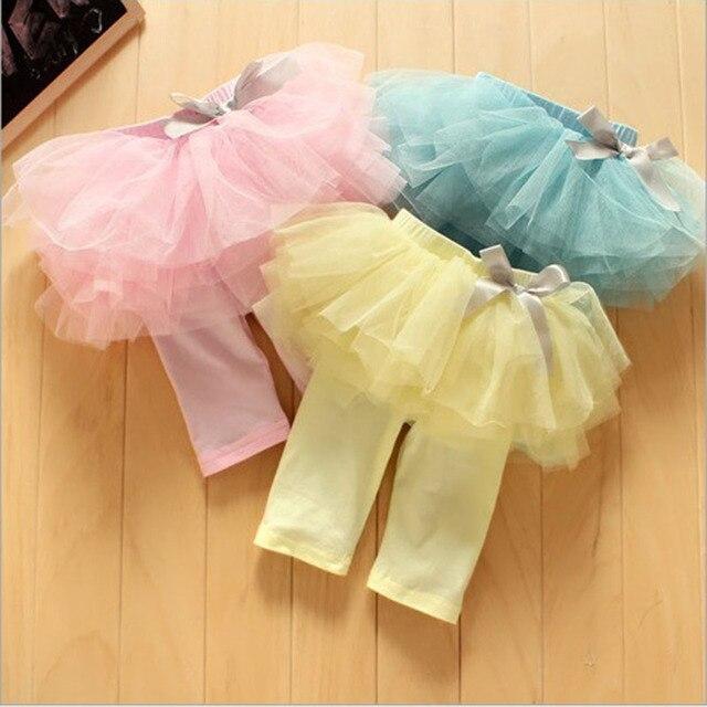 Us 4 25 15 Off Bayi Perempuan Musim Panas Legging Dengan Rok Tutu Anak Anak Putri Busur Kelima Celana Kuning Pink Biru Di Celana Dari Ibu Anak