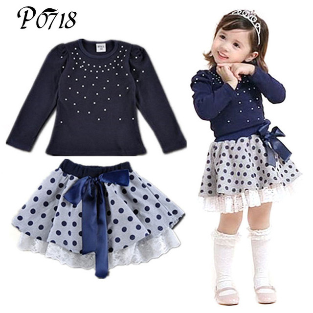 e2c0eadb91b6 2018 New Arrival Autumn Winter Little Girls Clothes Sets Diamond T ...