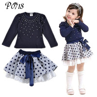 Suits 2016 New Arrival Autumn Girls T Shirt Skirt 2pcs Clothing Diamond Dot Bow Dress Childrens