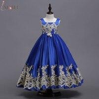 로얄 블루 꽃 소녀 드레스 2018 Appliqued Cutton 아이 이브닝