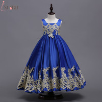 Royal Blue Flower Girl Dresses 2018 Appliqued Cutton Kids Evening Gowns Prom Dress Pageant Dresses Robe