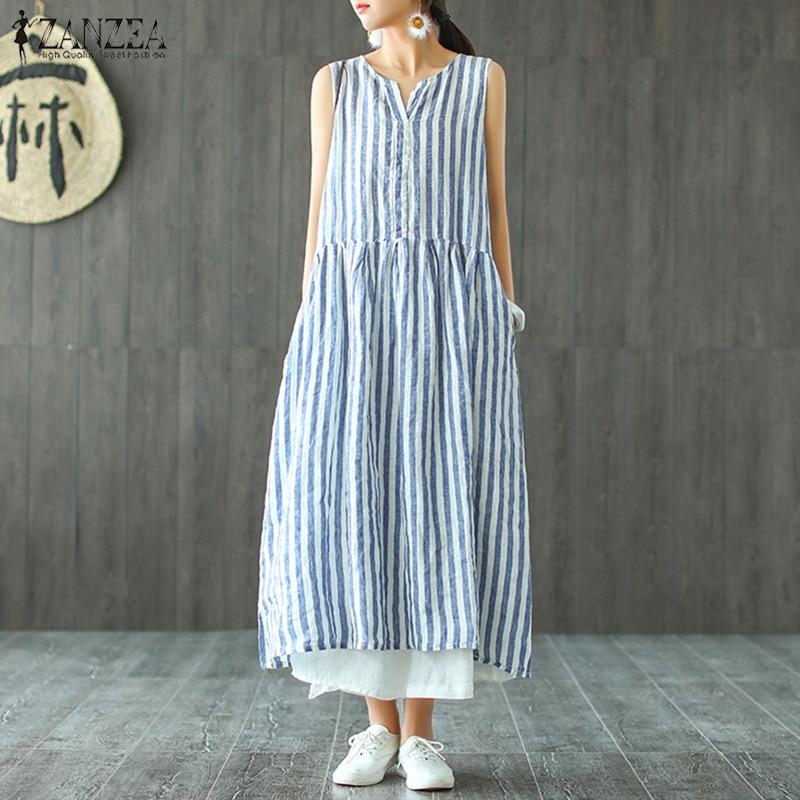 Fashion ZANZEA Women Striped Dress 2019 Summer Sleeveless Blue Long Shirt Vestido Casaul Cotton Linen Maxi Plus Size