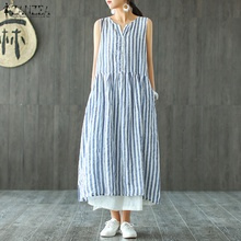 Fashion ZANZEA Women Striped Dress 2019 Summer Sleeveless Blue Long Shirt Vestido Casaul Cotton Linen Maxi Plus Size