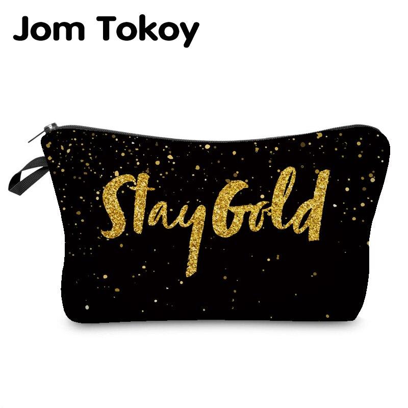 Jom Tokoy 2019 Cosmetic Organizer Bag Heat Transfer Printing Golden Alphabet Makeup Bag Fashion Women Brand Cosmetic Bag