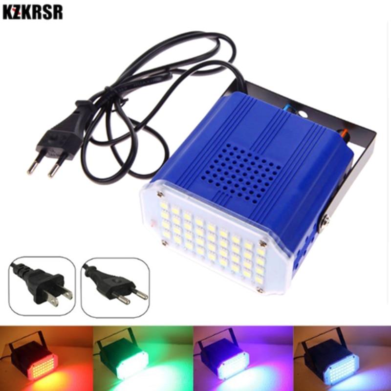 AC90-260V 36 Led White/RGB LED Stage Light Mini DJ Disco Strobe Flash Light 5050 Lamp Bead For KTV Family Party EU/US Plug