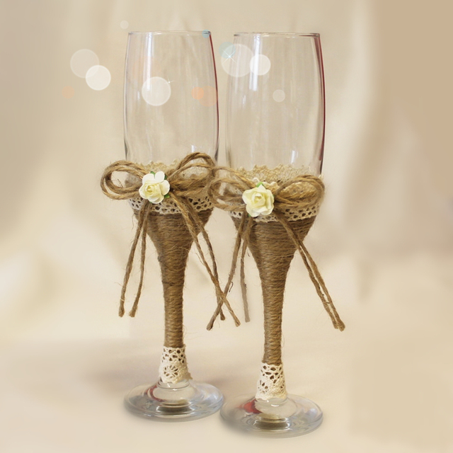 1 Pair Wedding Gles Champagne Twine Flutes Toasting Burlap Rustic Bride And